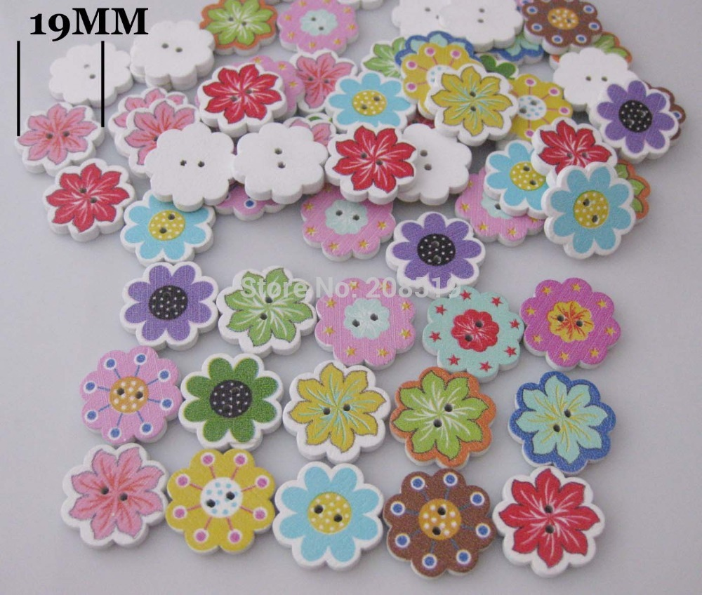 WB0200 20MM Flower wooden buttons mixed colors randomly 150pcs 2 holes sewing supplies