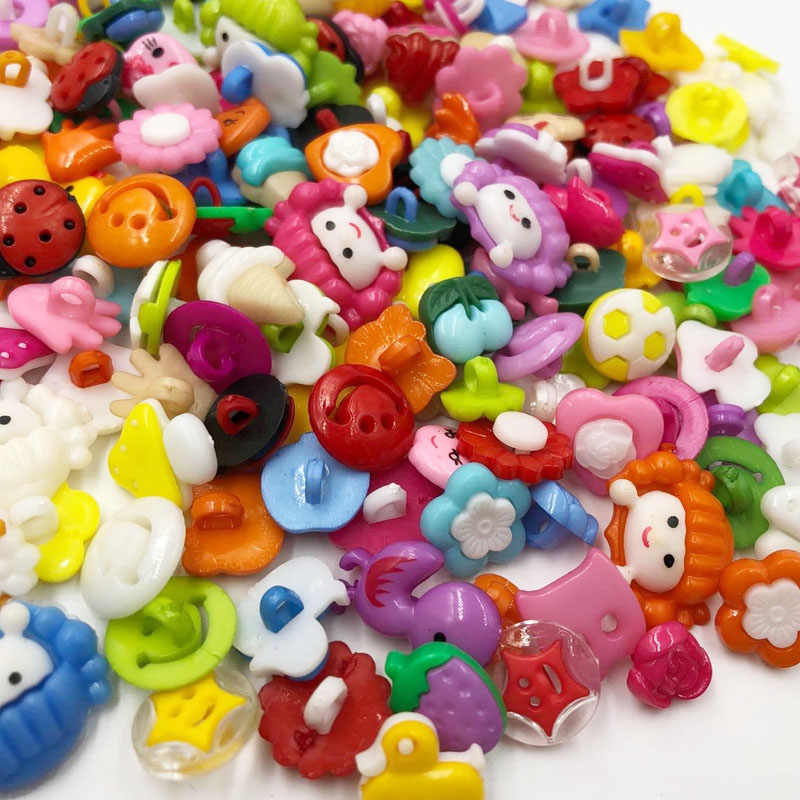 10/50/100pcs random mixed plastic button for kids sewing buttons clothes accessories crafts child cartoon button PT99