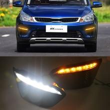Auto blinkt 2 stücke Auto LED Für Russland KIA RIO X Linie 2018 2019 Mit Blinker Auto Fahren DRL Tagfahrlicht