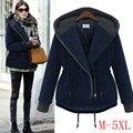 2015 Зимние пальто новый большого размера свободной женщины с капюшоном Хлопка-ватник женщин ватные пальто