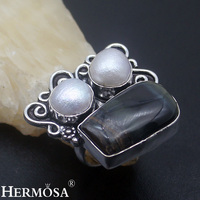 Black Tiger S Eye River Pearl Retro Charms 925 Sterling Silver Ring Size 8 Sterling Silver