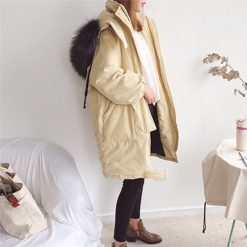 Parka Real Fur Oversized Thick Corduroy Warm Women Down Cotton Loose Manteau Femme Casual Winter Coat Parka Women Jackets TT3550