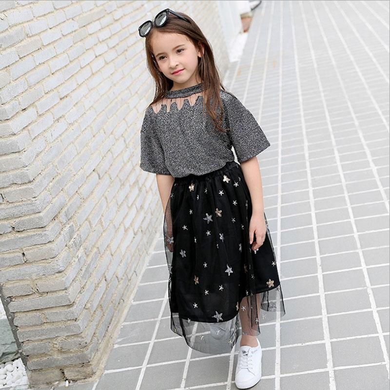 b4ea7544b7 Girls Clothing Sets Teenage Summer Fashion costume for Big girl outfits  2pcs T shirt + Sequins Mesh Skirts 6 8 10 12 14 16 Years