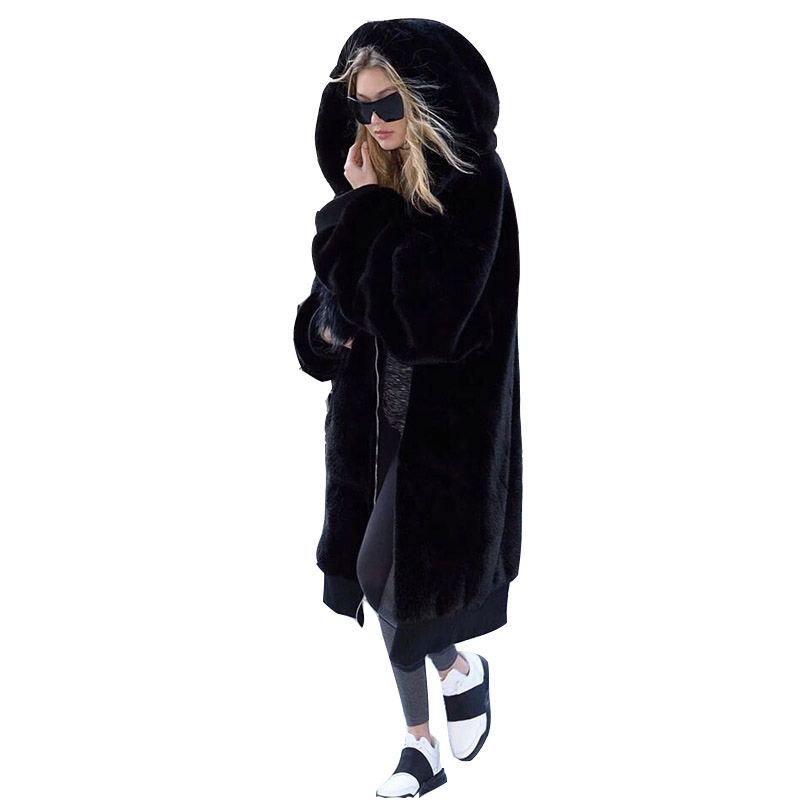 Winter Fur Warm hooded Large size Medium length Solid color Fur Faux Fur Women New Casual