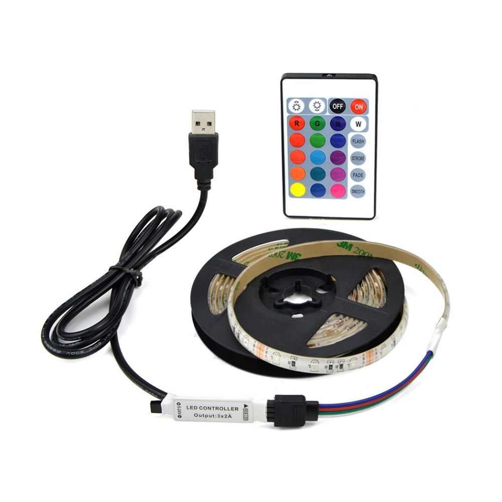 RGB LED Lampu 2835 SMD 60LED/M Kabinet Dapur Pita LED 1-5 M Tahan Air Strip Lemari TV dekorasi Lampu 5V USB Kabel Pengisian