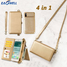 4in1 Leder Brieftasche Tasche Fall Für iPhone 12/11/6/7/8/Pro/XR/XS Max/X/Plus Abnehmbare Telefon Mädchen Frauen Männer Schulter Handtasche Abdeckung