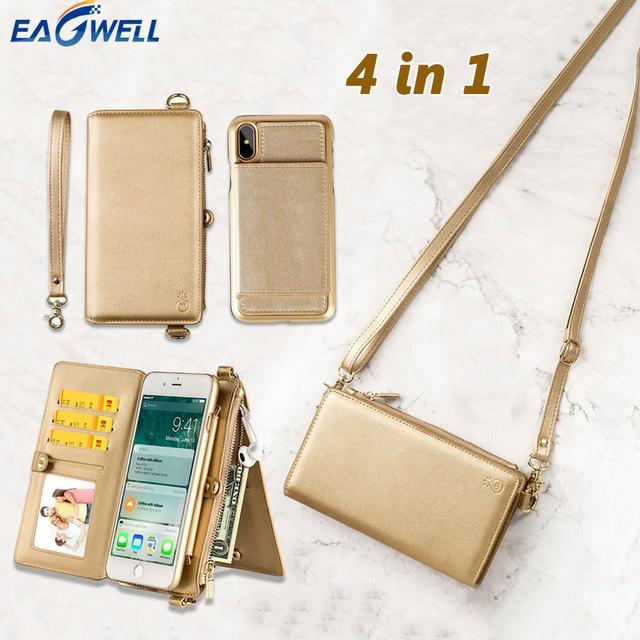 4in1 Lederen Portemonnee Tas Case Voor Iphone 11 Pro Xr Xs Max X 6 7 8 Plus 12 Afneembare Telefoon cover Meisje Vrouwen Schoudertas Handtas