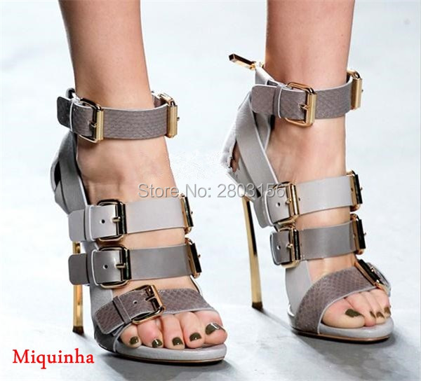 Fashion Gold Heel Women High Heel Sandals Mixed Colors Buckle Straps Gladiator Sandals Party Lady Thin Heels Party Shoes lady s pumps high thin heel spike heels mixed colors metal buckle elegant concise women wedding shoes 2015 high heels