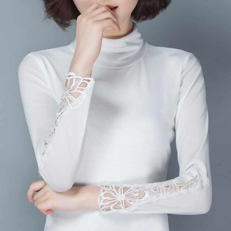 Otoño Invierno encaje elástico Tops pulóveres mujeres elástico de manga larga blusa cuello alto Oficina Coreana delgada Blusas femenina 2019