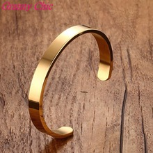 Granny Chic Hotsale Gold Color 8/6mm Stainless Steel Fashion Half Cuff Bracelet Bangle For Men Women's Jewelry Pulsera Gift