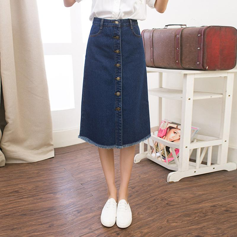 Aliexpress.com : Buy denim midi skirt with tassels and button 2017 ...