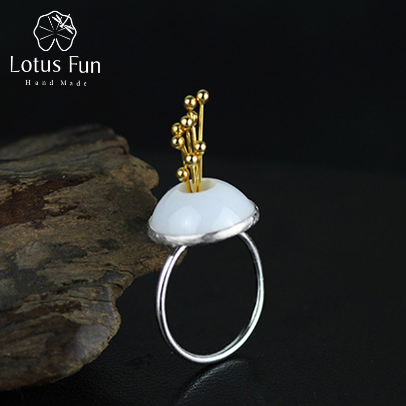 Lotus Fun Real 925 Sterling Silver Cincin untuk Wanita Asli Nano-Ceramics Original Handmade Fine Jewelry Flower Bud Female Cincin