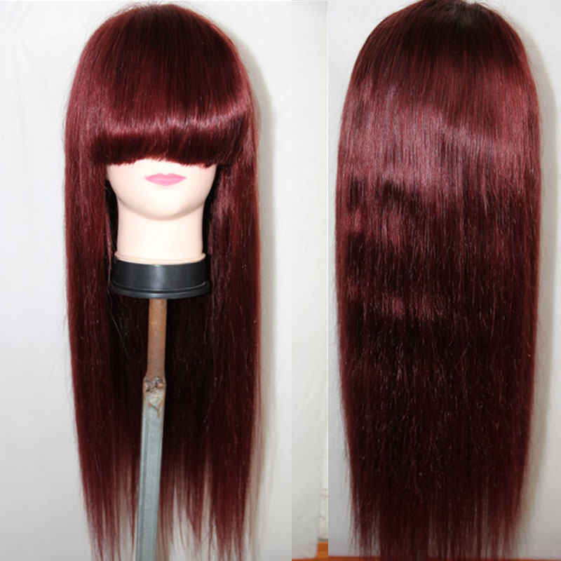 LUFFYHAIR Dark Wine Brazilian Straight Lace Front Wigs with Bangs Remy Human Hair 99j 13x6 Lace