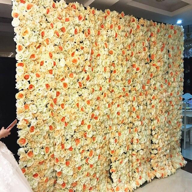 40X60cm Artificial Silk Flower Wall Rose Hydrangea Peony Flower wall ...