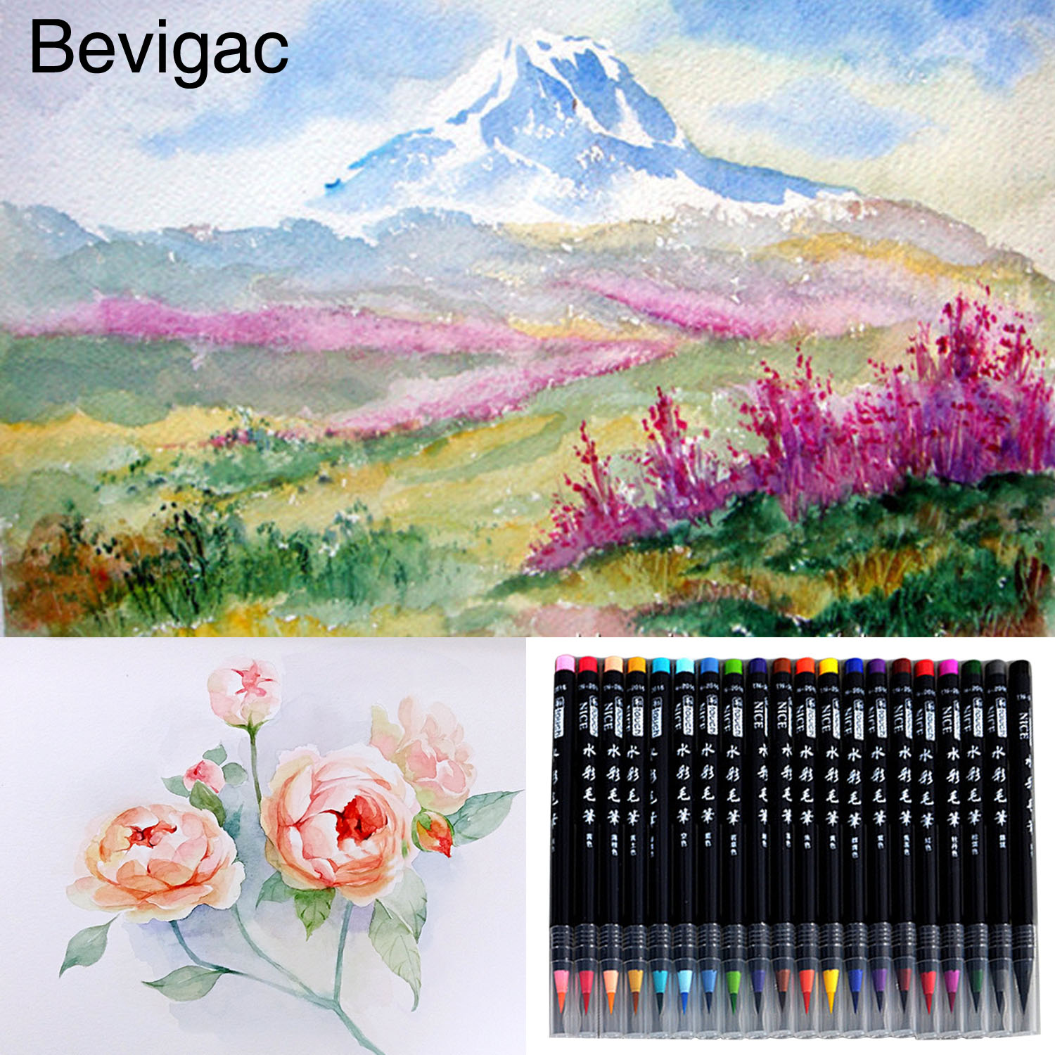20 PCS Assorted Colors Watercolor Brush Pens Ink Painting Brush Art Supplies for Students Artists Making Manga Comic Calligraphy 20 colors premium painting soft brush pens watercolor art markers for sketch drawing calligraphy manga comic