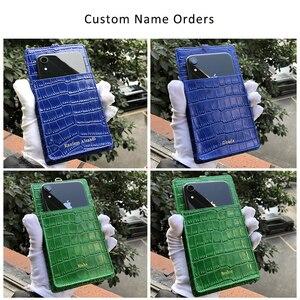 Image 5 - Horologi moda funda billetera telefónica teléfonos móviles ranuras para tarjetas de crédito con cordón de cuero de vaca con patrón de cocodrilo nombre personalizado