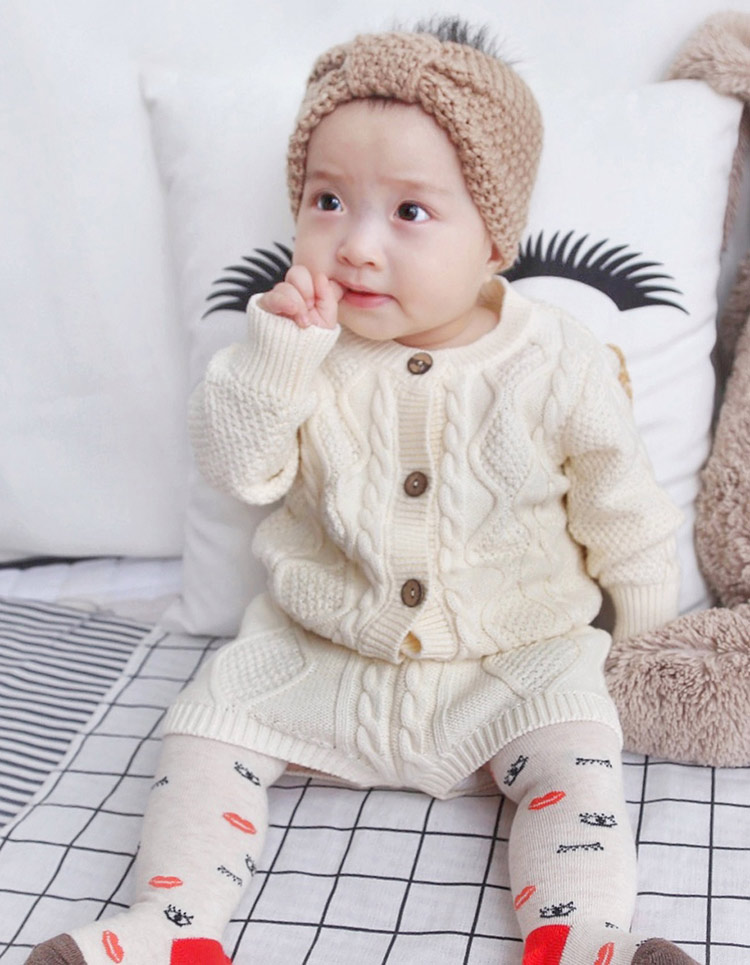 Children Clothing sets Baby Boys Girls Twist Knit Long-Sleeved Cardigan Sweater Shorts Clothing Set Baby Outfits for 0~24 Months twist back crop chunky knit sweater