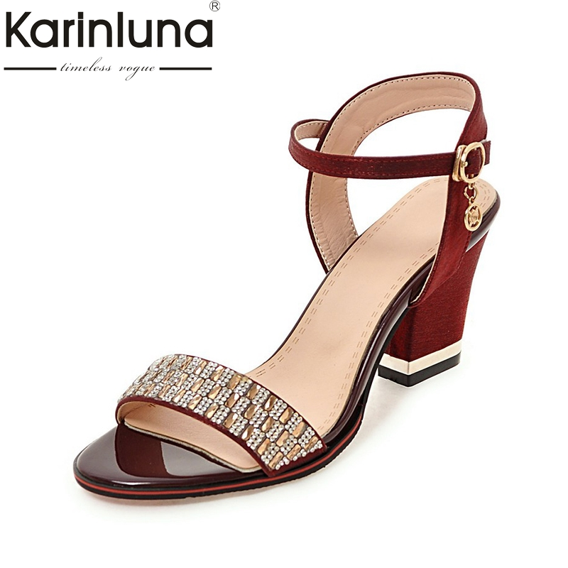 Karinluna New Bling Upper Plus Size 32-43 Ankle Strap Square High Heels Women Shoes Woman Casual Date Footwear Lady Sandals