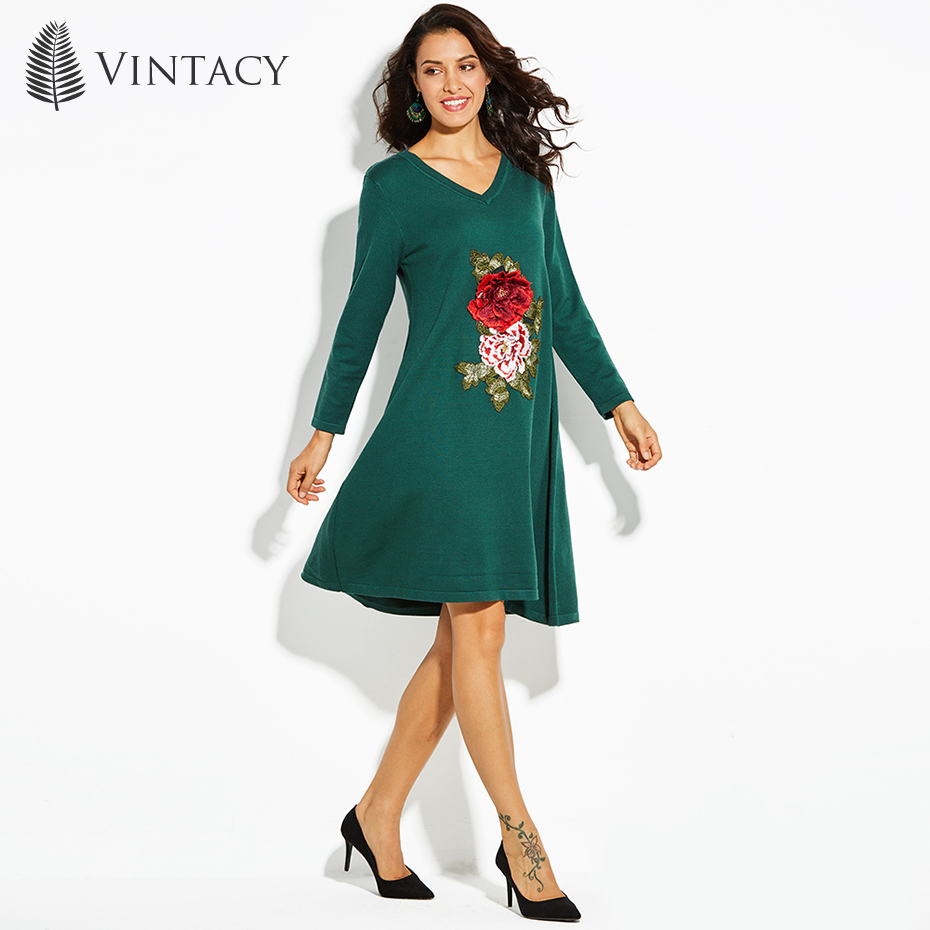 Vintacy Women Embroidery Sweater Dress Green Rose V Neck Causal Dress Long Sleeve Lady Appliques Elegant A-Line Knitting Dress