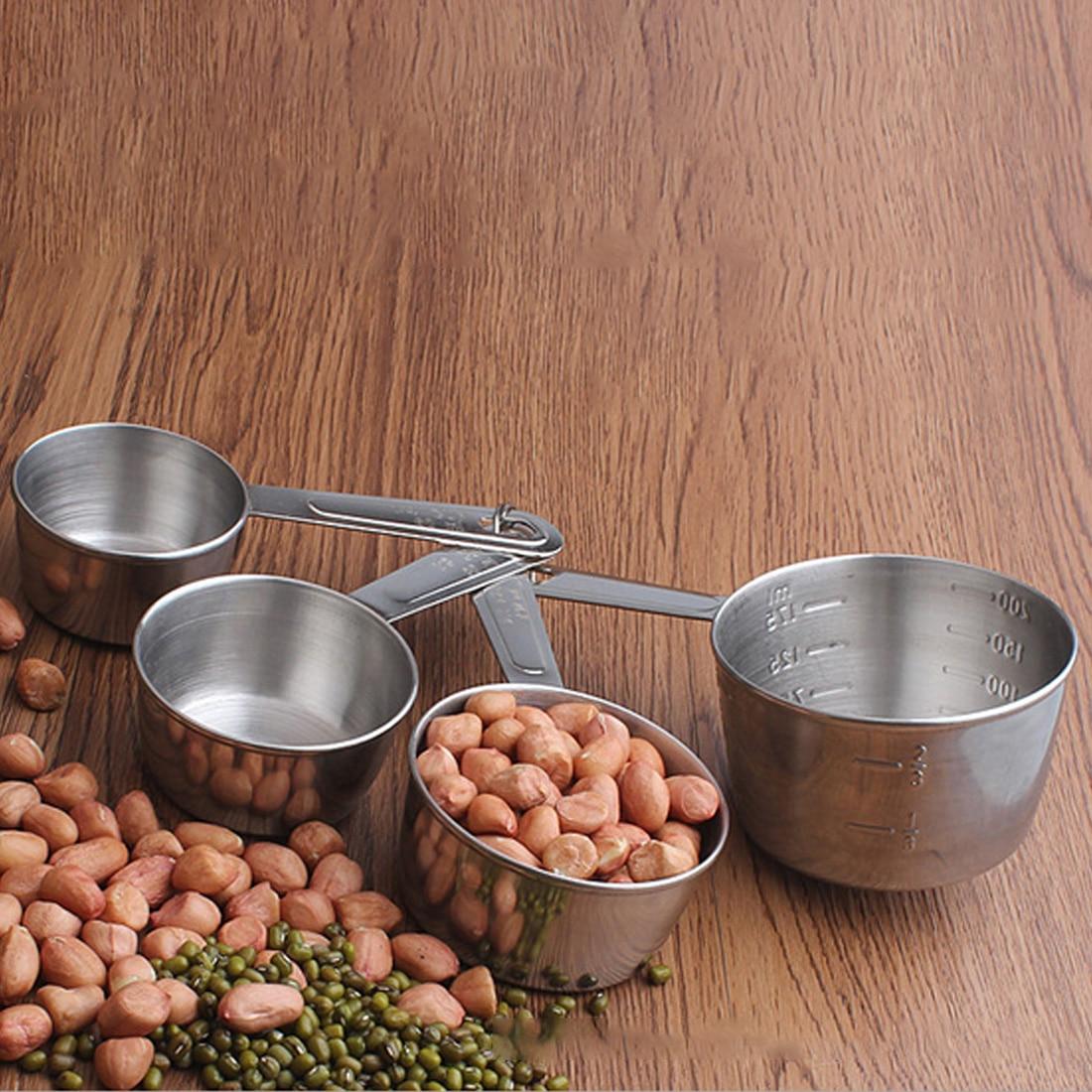 4 Pcs Set Stainless Steel Measuring Cup Kitchen Measuring