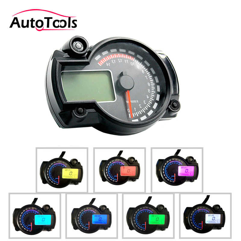 motorcycle speedometer instrument assembly kit with digital lcd gauge  tachometer odometer motorcycle accessory kit
