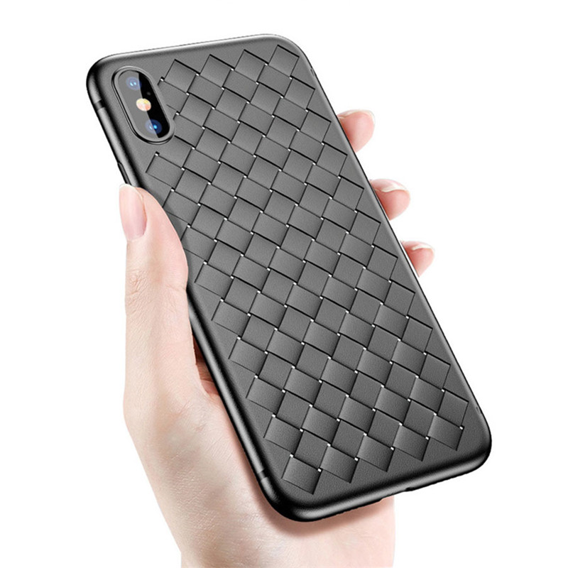 Fashion Weaving Silicone Full Cover breathable Phone Case for iPhone 7 8 6 6s plus X Case Luxury Back Protection Soft TPU Case