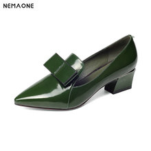 NEMAONE 2019 New Women Genuine Leather High Heel Shoes Pointed Toe Pumps bowties Design Wedding Shoes