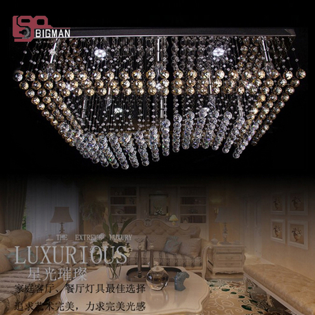 Free shipping new rectangle wave crystal light modern chandelier with remote controlled large foyer chandeliers