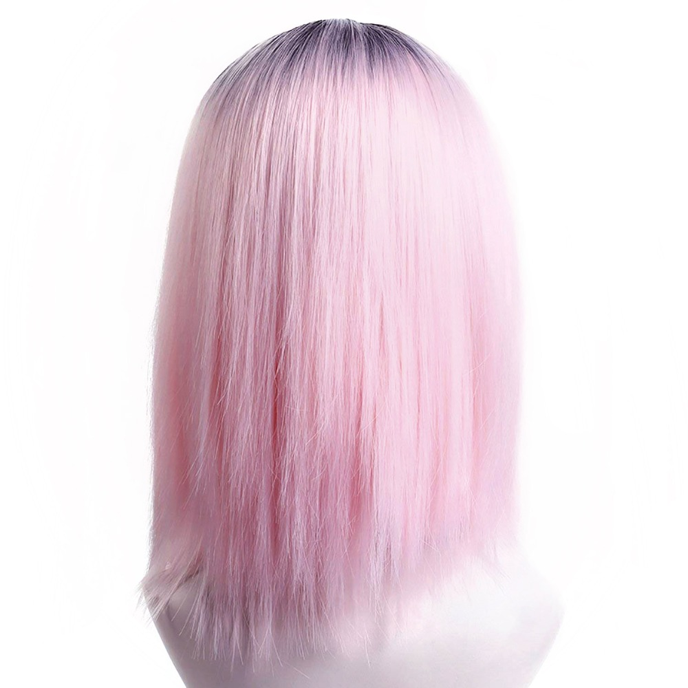 Pageup Ombre Bob Synthetic Wigs For Women African American Ladies High Temperature Fiber Heat Resistant Short Cosplay Pink Wig (2)