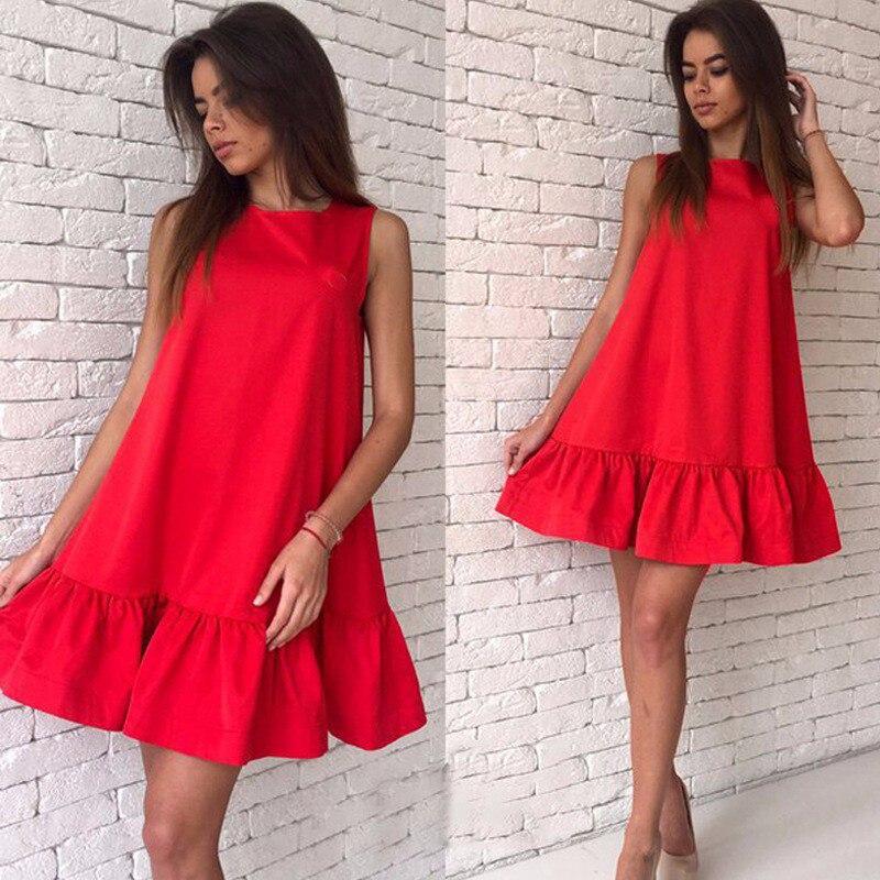 Summer solid women dresses A-line sleeveless ruffles loose elegant dress sweet fashion casual mini beach dresses vestidos LD57