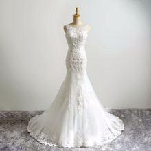 Женское свадебное платье с юбкой годе белое без рукавов со шлейфом