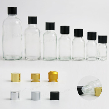 200 x 5ml 10ml 15ml 20ml 30m 50ml 100ml clear glass essential oil bottle with aluminum lids  glass essential oil container