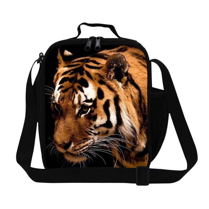 Cool tiger lunch bag for boys,animal print small work lunch container for men,children crossbody lunch box bag for girls school