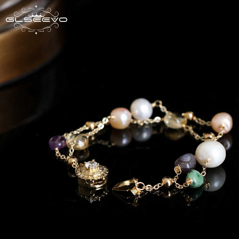 GLSEEVO Handmade Original Natural Fresh Water Pearl Natural Stone Adjustable Bracelet For Women Wedding Jewelry Femme GB0132