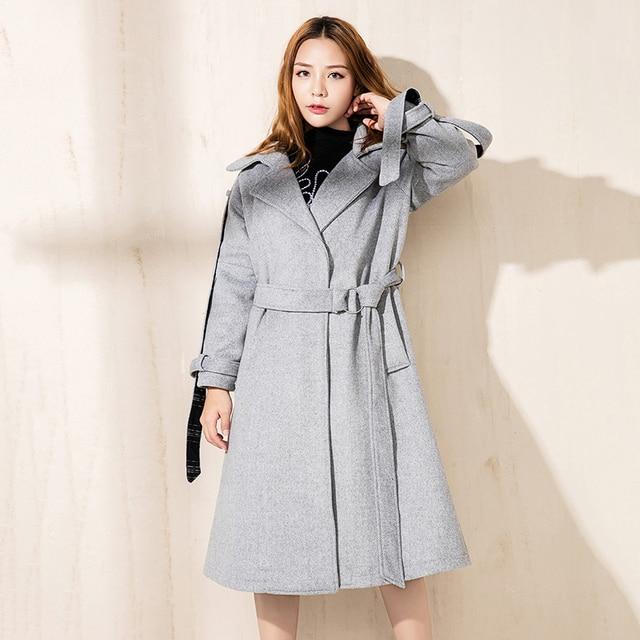 99d1b1603d3a women wool blend coat winter korean style female elegant belts outerwear  long coat women autumn padded woolen cashmere coat fall