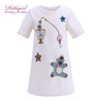 Pettigirl Newest White Girls Dresses Sequins Pattern Daily Straight Dress Daughter Winter Favorite Item G-DMGD908-849