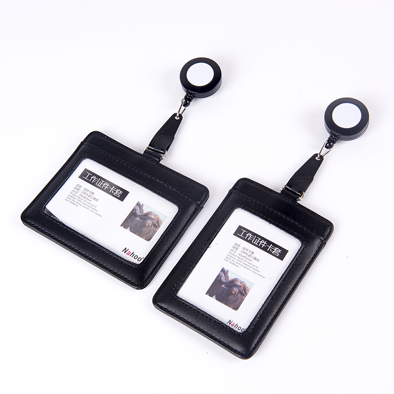 Nahoo Retractable Lanyard ID Badge Holder Leather ID Badge Case Clear Border Lanyard Holes Bank Credit Card Holders AccessoriesNahoo Retractable Lanyard ID Badge Holder Leather ID Badge Case Clear Border Lanyard Holes Bank Credit Card Holders Accessories