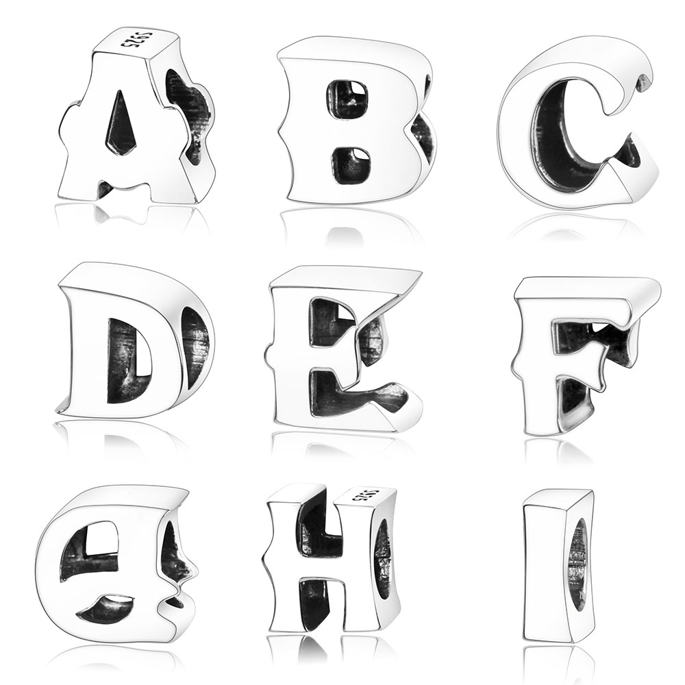 100% 925 Sterling Silver A-Z Alphabet Letters M Charm Beads Fit Original Pandora Charm Bracelet For Women Bangles DIY Berloque 925 sterling silver charm a z letter of the alphabet with crystal pendant beads fit pandora original bracelet diy jewelry making