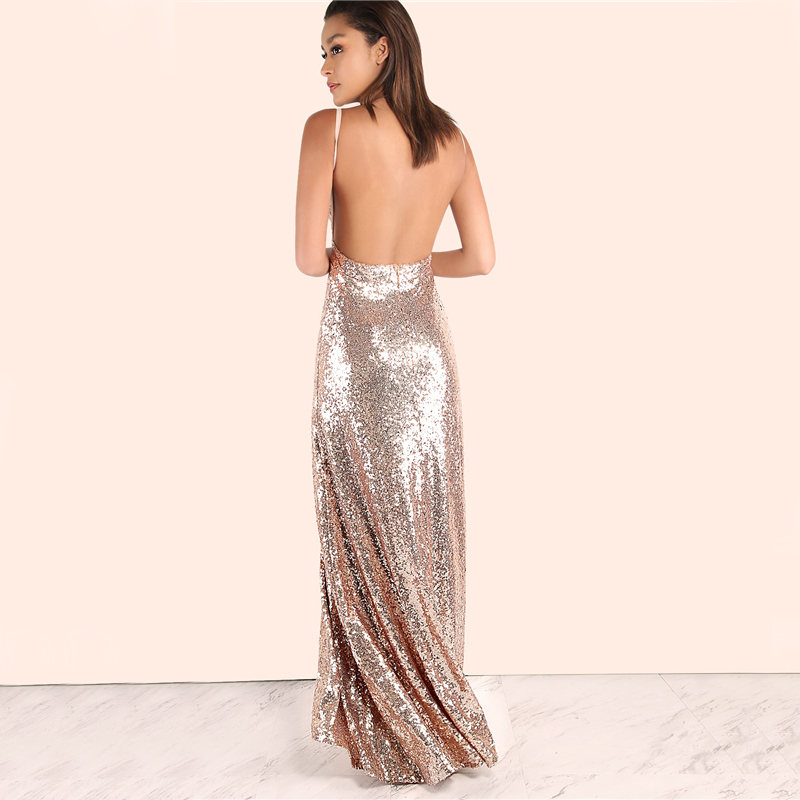 COLROVIE Rose Gold Sequin Party Maxi Dress 2017 Sexy Backless Slip Long Summer Dresses Women Empire Elegant A Line Club Dress 9