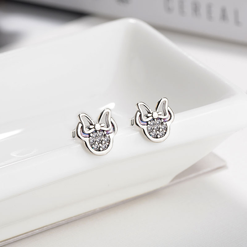HOMOD 2018 Presents Silver Color Mickey Stud Earrings Sparkling Minnie Pandora Earrings Women Fashion Jewelry