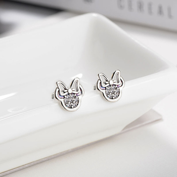 HOMOD 2019 Presents Silver Color Mickey Stud Earrings Sparkling Minnie  Pandora Earrings Women Fashion Jewelry Dropshipping