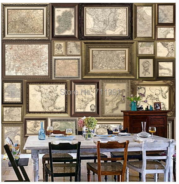 Free Shipping Custom  Modern 3D Mural Living Room TV Backdrop Bedroom Dining  Room Wallpaper Retro