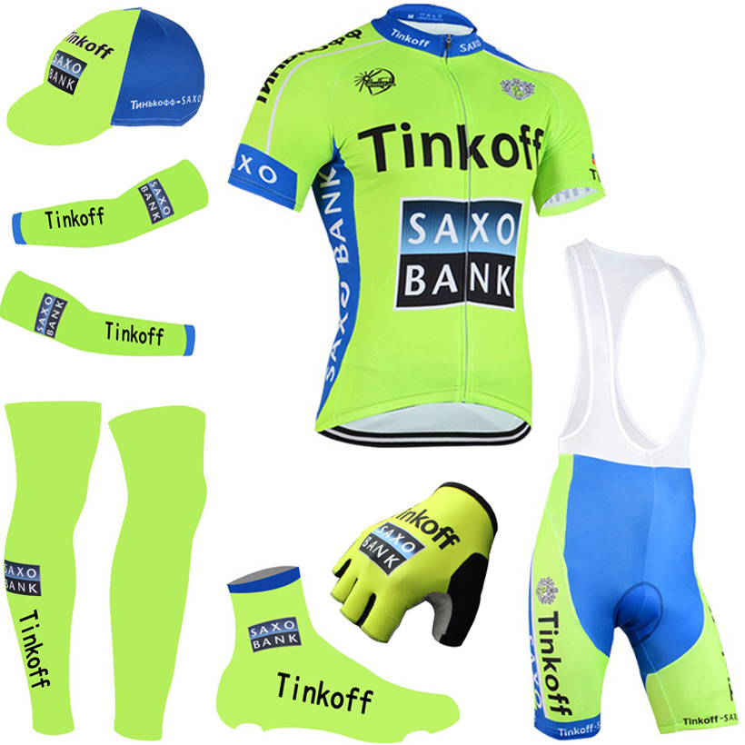 ФОТО 2016 fluorescence thikoff cycling jersey quick dry saxo Bycicle shirts bike shorts set gel pad cycle Maillot Culotte full