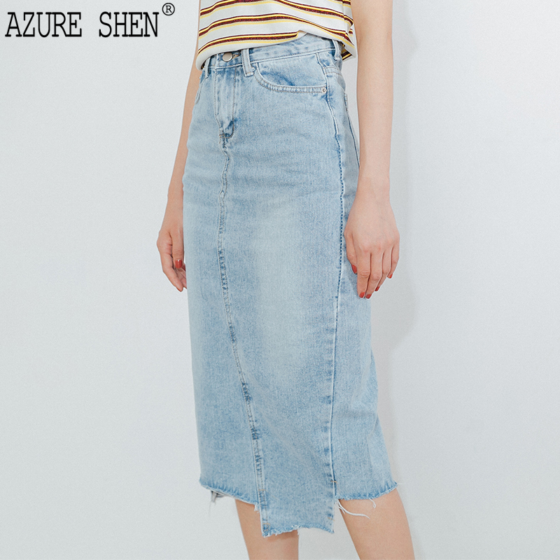 [EWQ] New Summer 2018 Fashion simple blue lace-up Irregular cropped vintage loose pockets denim skirt women QE058