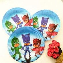 10pcs/set 7inch Pj Masks Plate Children Party Supplies Theme Kids Funny Hot Birthday Party Decoration Pj Masks Party Favors