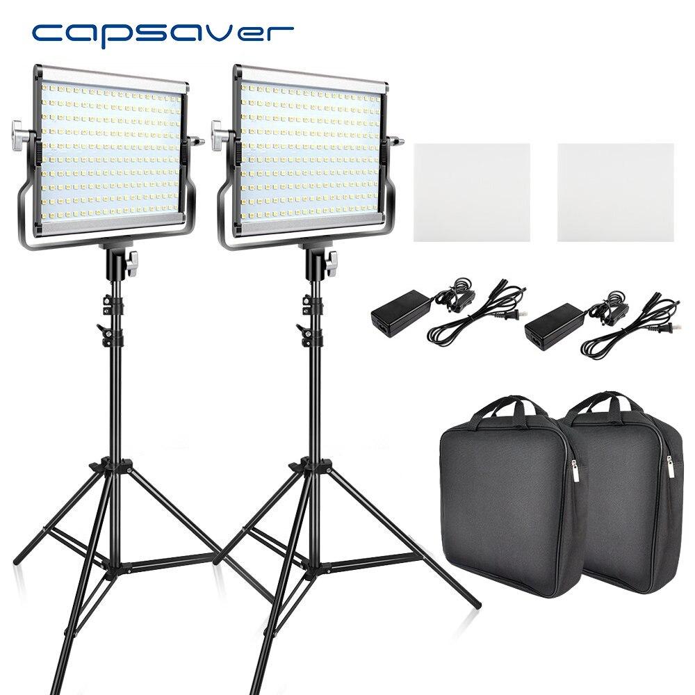 Capsaver L4500 2 conjuntos Kit de Luz de Vídeo LED com Tripé Regulável Bi-color 3200 k-5600 k CRI 95 estúdio de Fotografia Lâmpada Painel de Metal