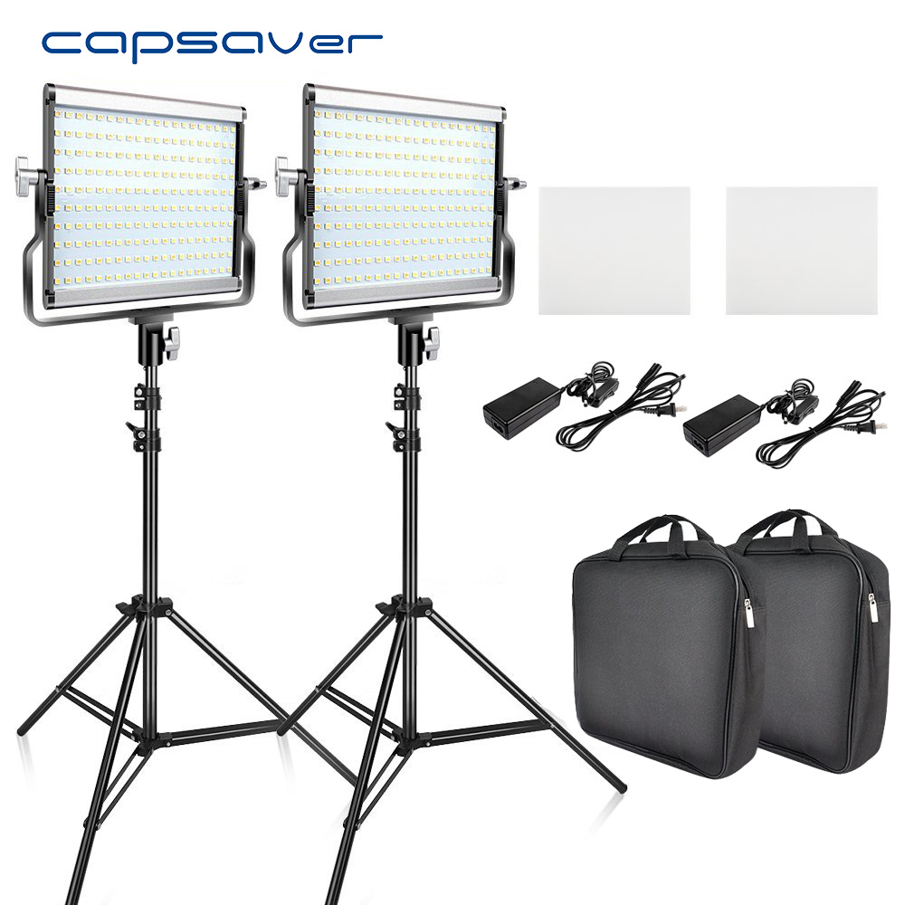 Capsaver L4500 2 sets Luz de vídeo LED Kit de trípode regulable Bi-color 3200 K-5600 K CRI 95 estudio lámpara de foto Panel de Metal
