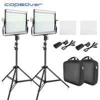 Capsaver L4500 LED Kit de lumière vidéo Dimmable 3200 K-5600 K 15W CRI 95 Studio Photo lampes panneau en métal avec trépied pour Youtube Shoot