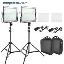 Комплект LED светильников Capsaver L4500, приглушаемые лампы 3200 5600K 15 Вт для видеозаписи, CRI 95 лампы для фотостудии, металлическая панель со штативом для съемки на YouTube