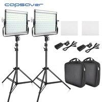 capsaver L4500 2 Sets LED Video Light Kit with Tripod Dimmable Bi color 3200K 5600K CRI 95 Studio Photo Lamp Metal Panel
